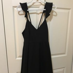 Black lulus mini dress ruffle strap
